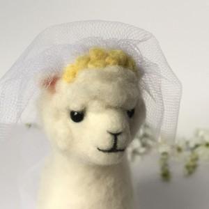 Needle felted alpaca bride