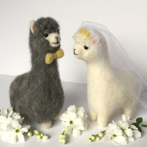 Needle felted alpaca bride and groom