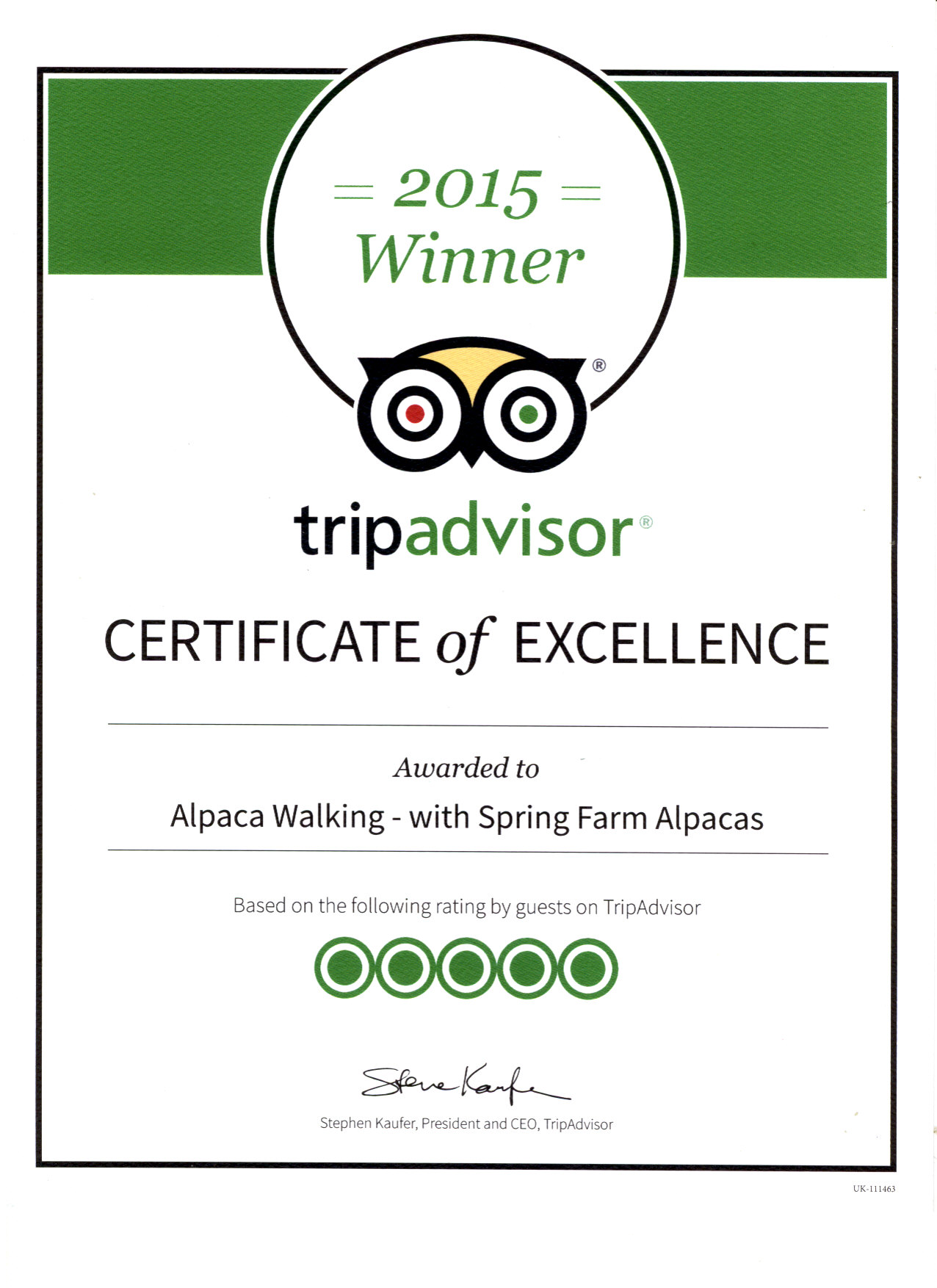 certificate excellence tripadvisor walking