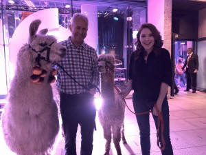 Chris with Eron, Angela Scanlon with Obelix at the One Show