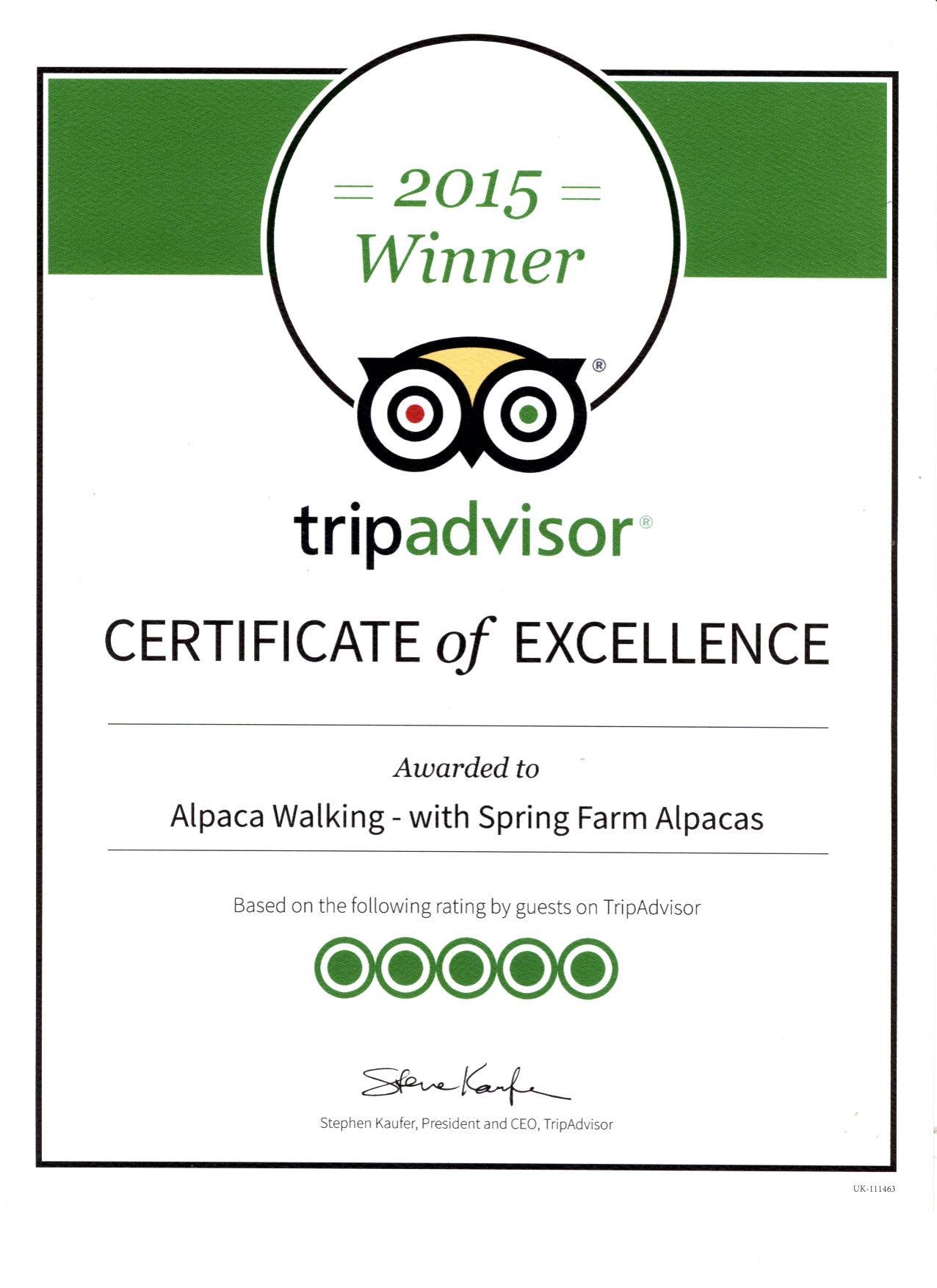 Tripadvisor Certificate of Excellence 2015 - Alpaca ...