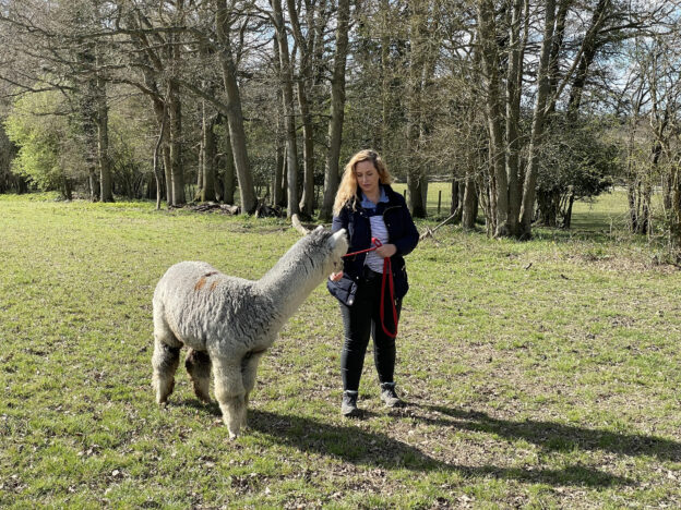 Josie Gibson with Dermot the alpaca